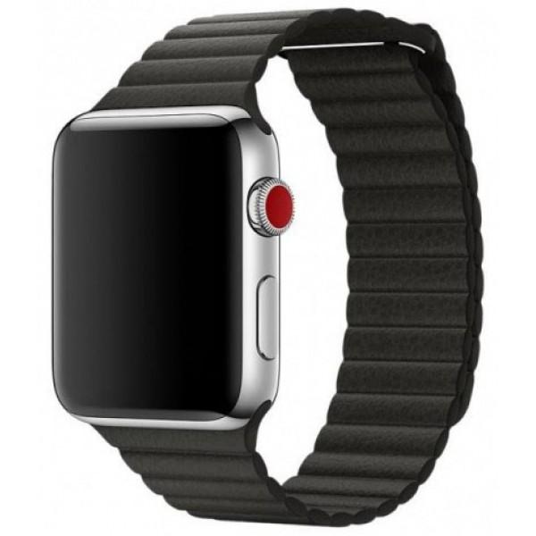 Ремешок кожаный Apple Watch 42/44 мм на магнитной застежке черный