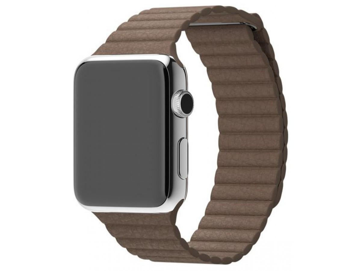 Ремешок кожаный Apple Watch 42/44 мм на магнитной застежке коричневый в Тюмени