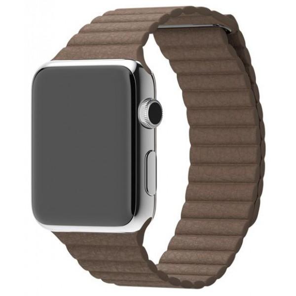 Ремешок кожаный Apple Watch 42/44 мм на магнитной застежке коричневый