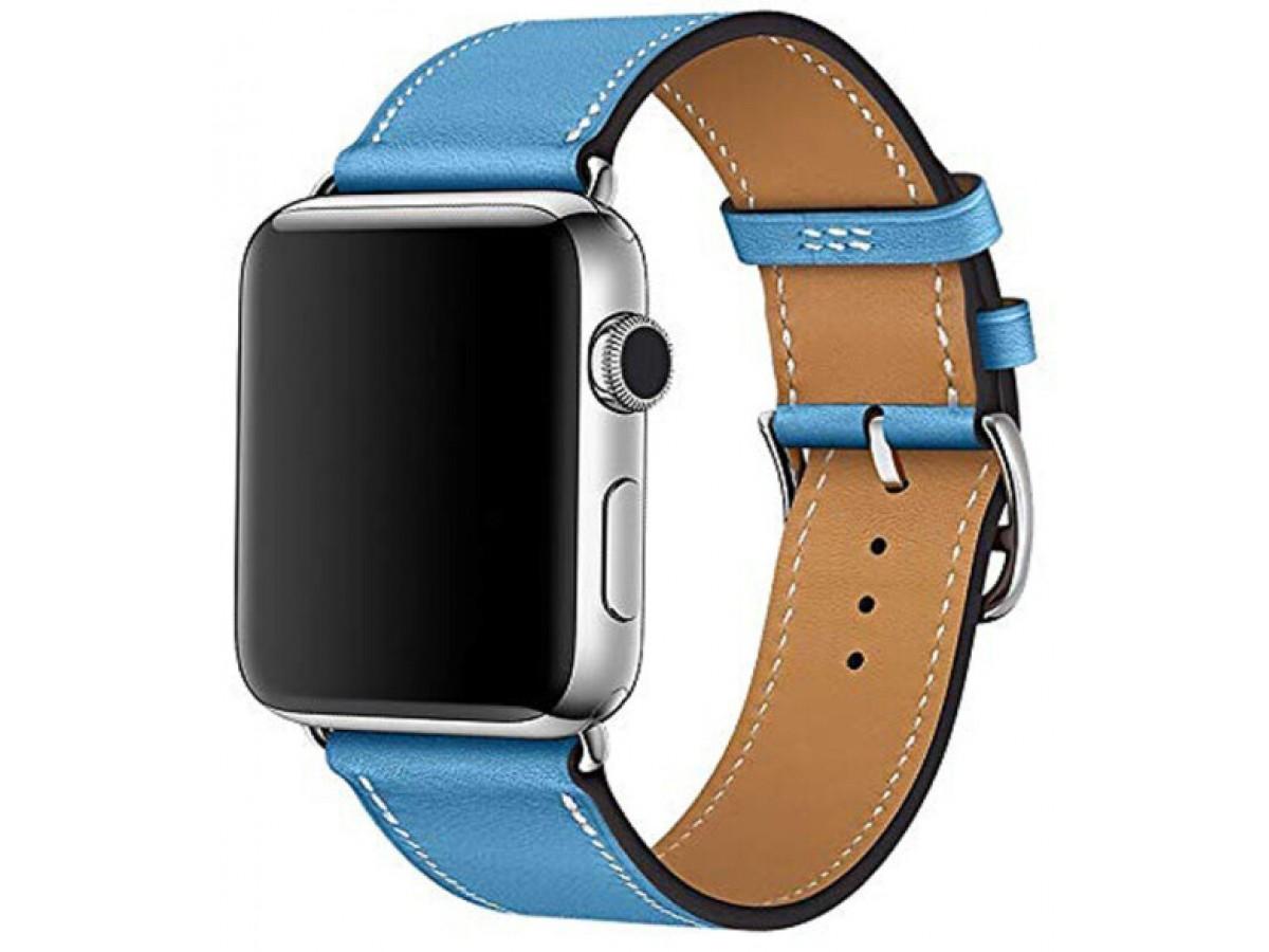 Ремешок кожаный Apple Watch 38/40 мм Genuine синий в Тюмени