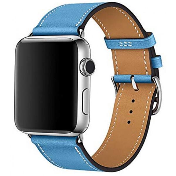 Ремешок кожаный Apple Watch 38/40 мм Genuine синий