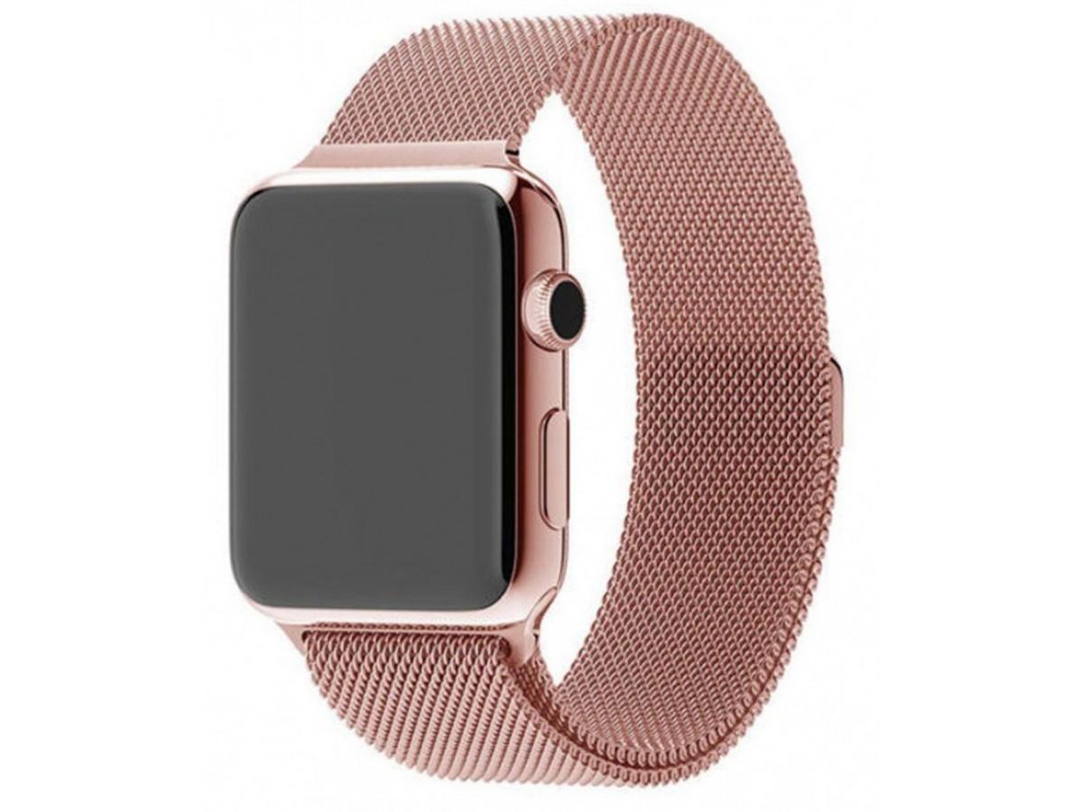 Ремешок миланский браслет Apple Watch 38/40 мм розовый в Тюмени