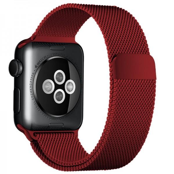 Ремешок миланский браслет Apple Watch 38/40 мм бордовый