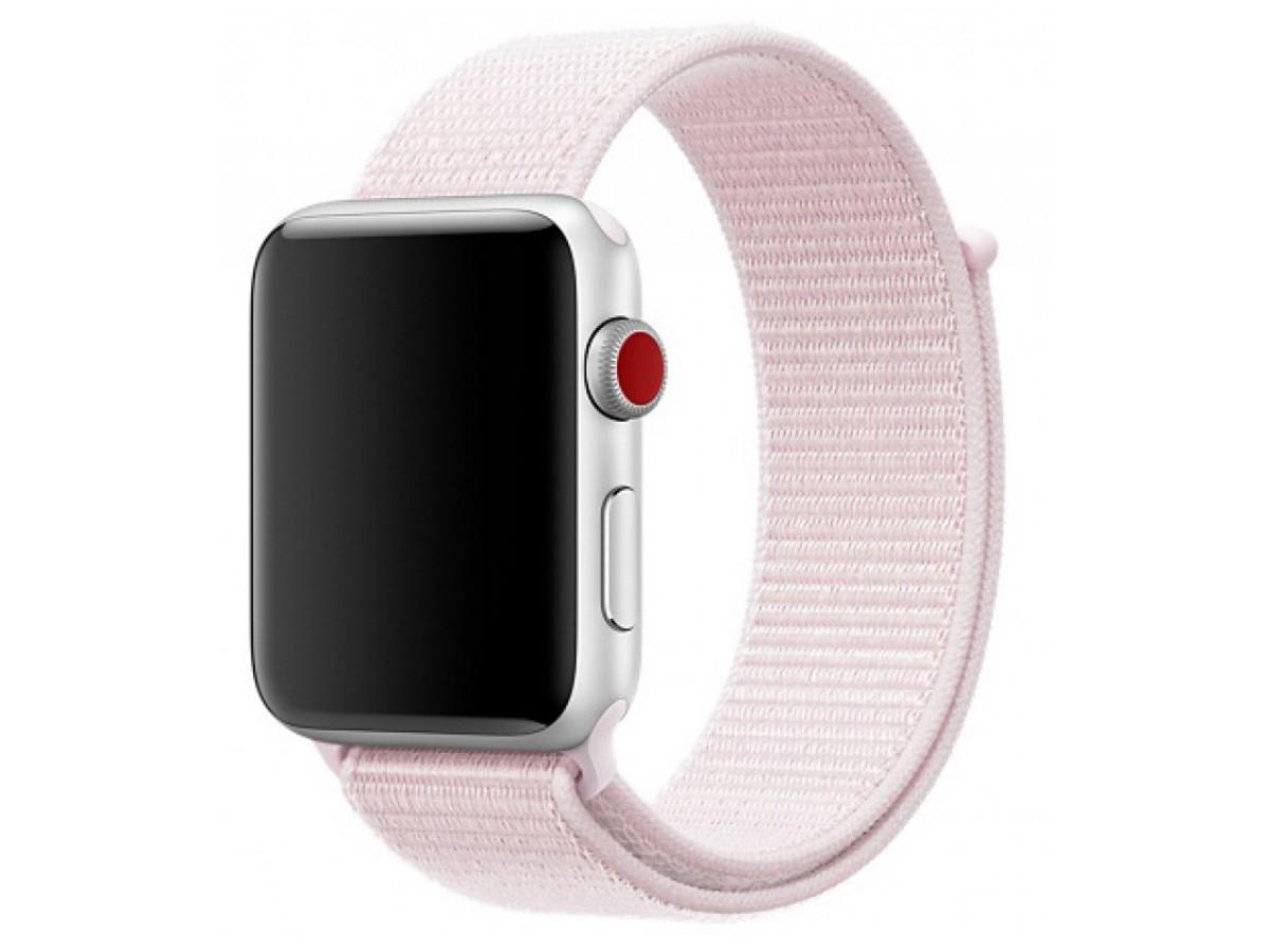 Ремешок спортивный браслет Apple Watch 42/44 мм светло-розовый в Тюмени