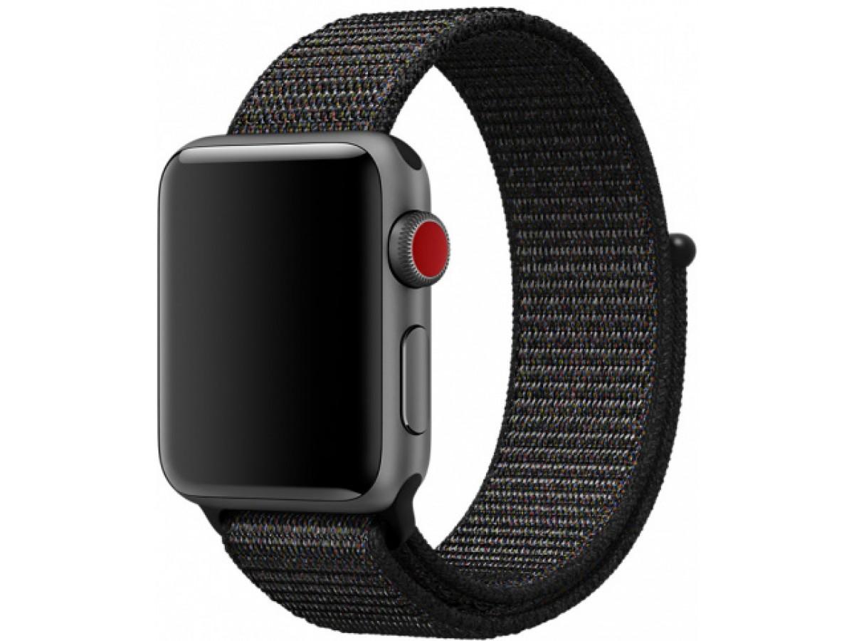 Ремешок спортивный браслет Apple Watch 42/44 черный с разноцветными вкраплениями в Тюмени