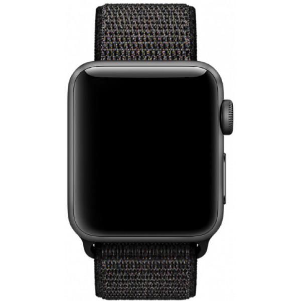 Ремешок спортивный браслет Apple Watch 42/44 черный с разноцветными вкраплениями