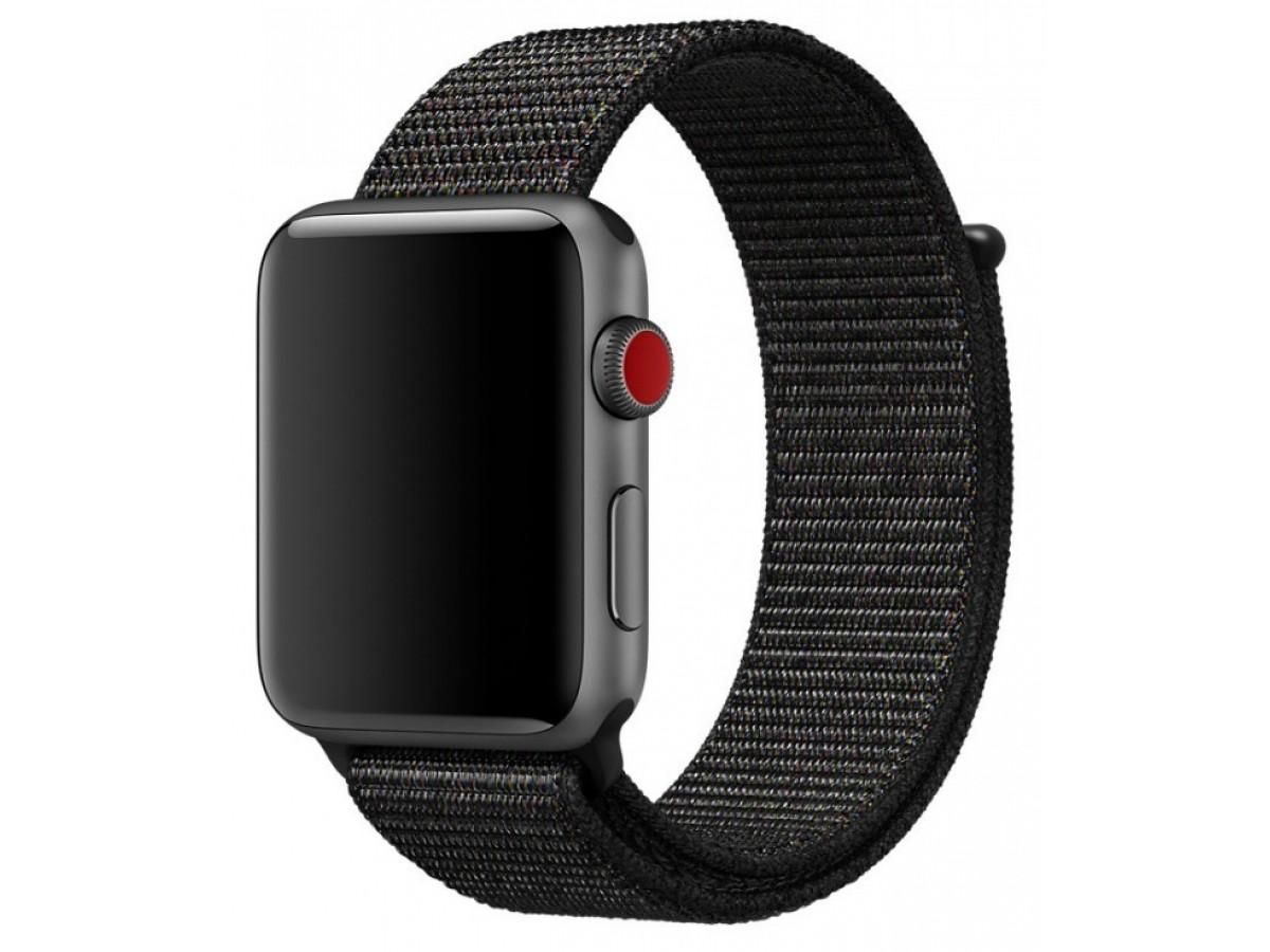 Ремешок спортивный браслет Apple Watch 38/40 мм черный в Тюмени