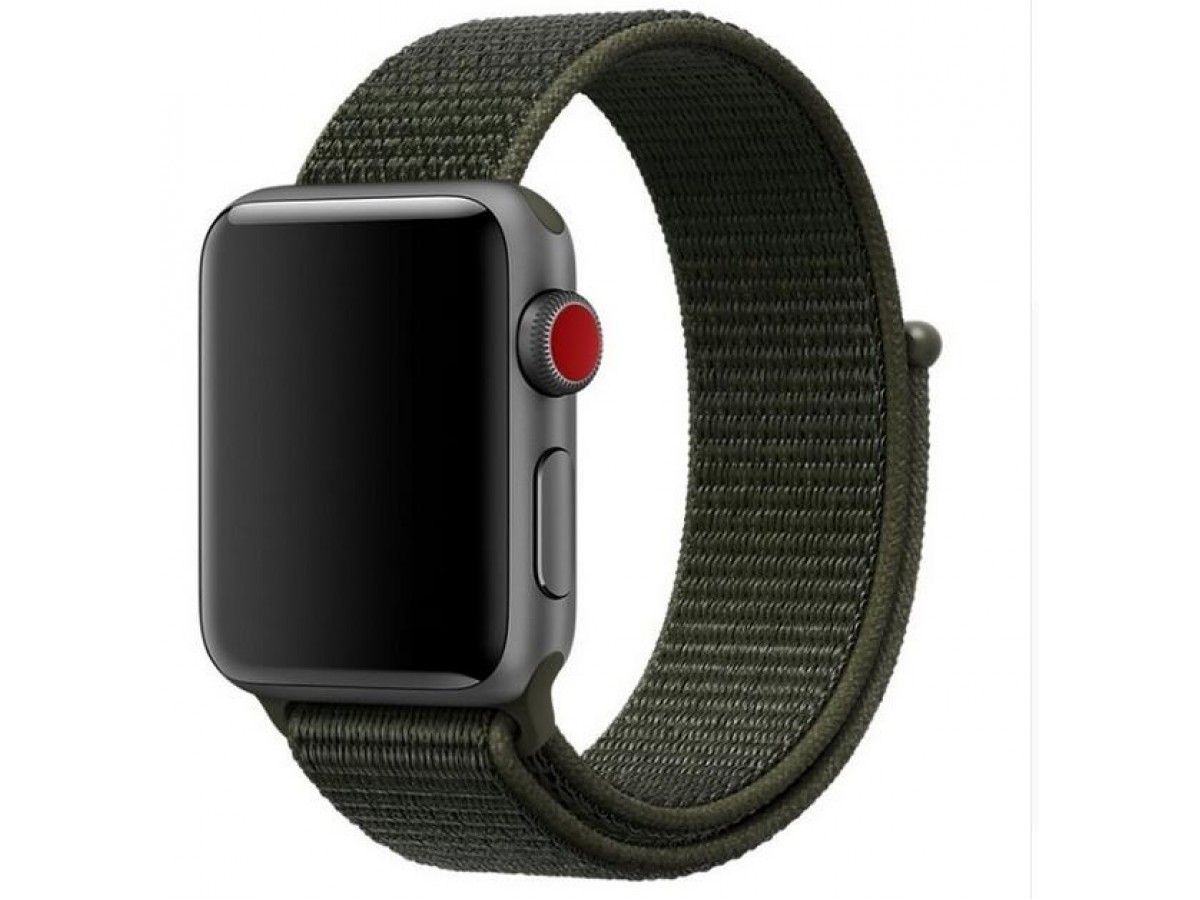 Ремешок спортивный браслет Apple Watch 38/40 мм темно-зеленый в Тюмени