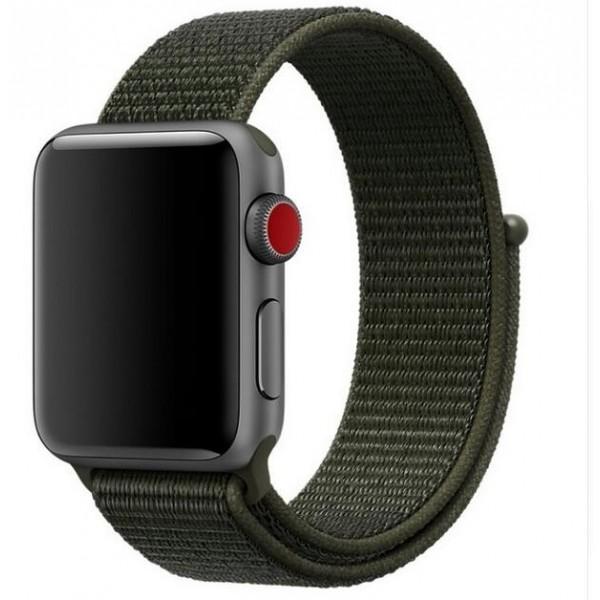 Ремешок спортивный браслет Apple Watch 38/40 мм темно-зеленый