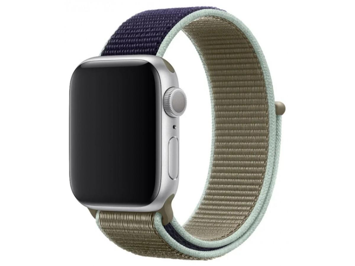 Ремешок спортивный браслет Apple Watch 38/40 мм зеленый/синий в Тюмени