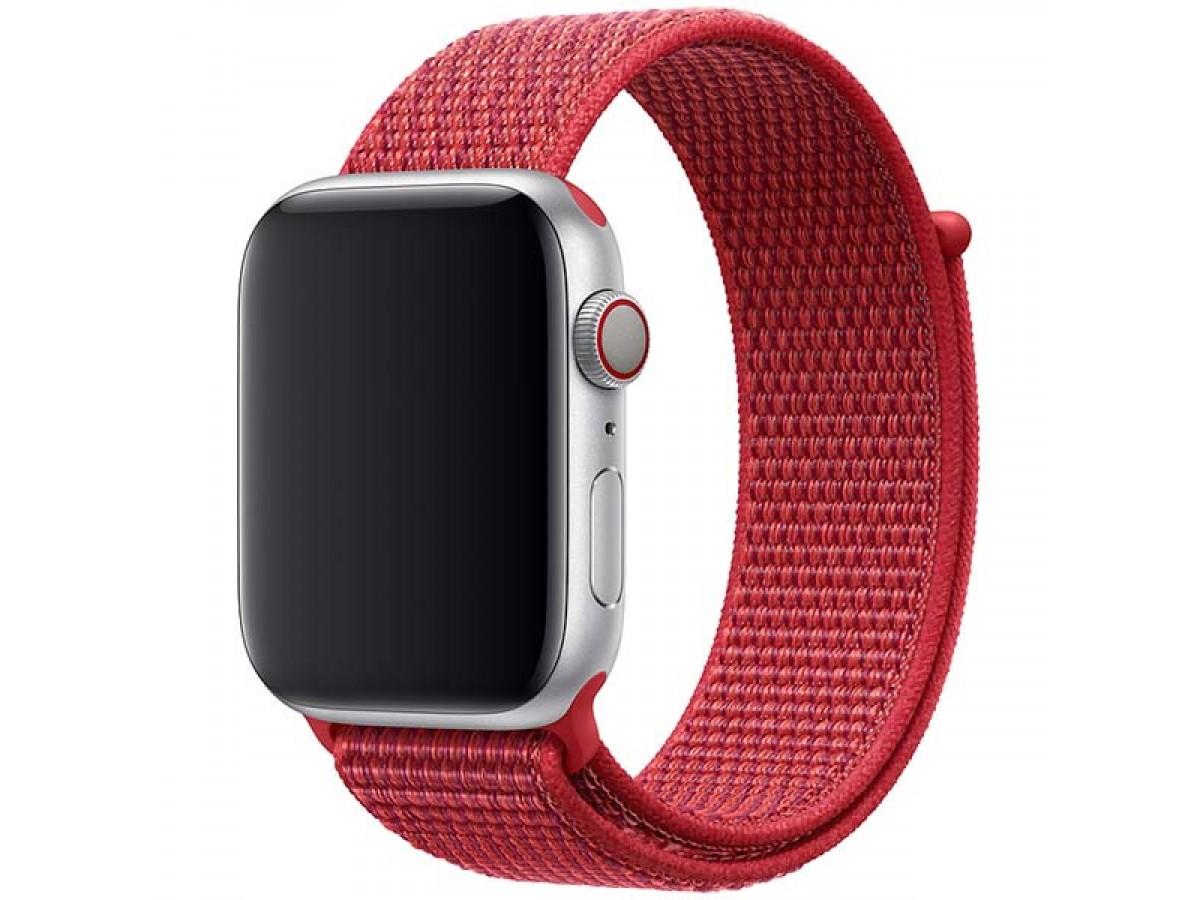 Ремешок спортивный браслет Apple Watch 42/44 мм красный в Тюмени