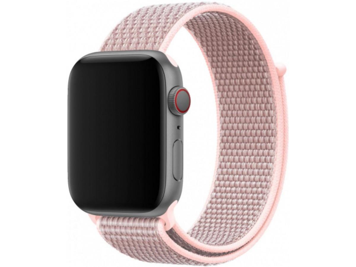 Ремешок спортивный браслет Apple Watch 38/40 мм серо-розовый в Тюмени