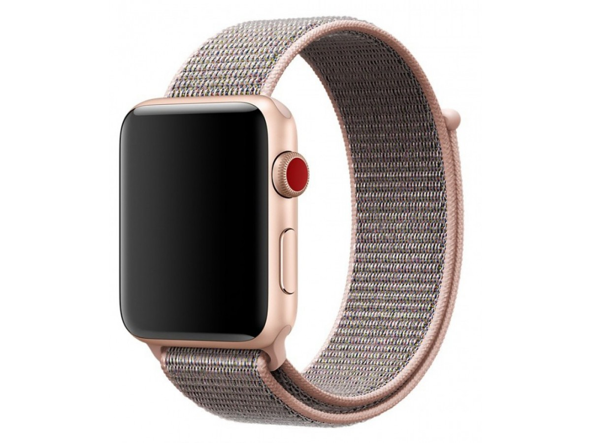 Ремешок спортивный браслет Apple Watch 42/44 мм розовый в Тюмени