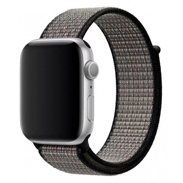 Ремешок спортивный браслет Apple Watch 42/44 мм серый/черный