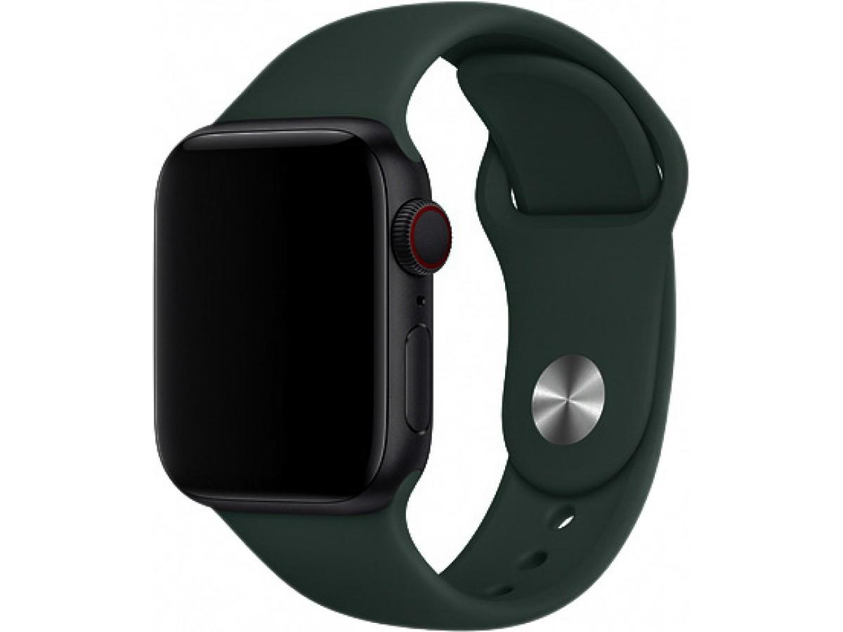 Силиконовый ремешок Apple Watch 42/44мм темно-зеленый в Тюмени