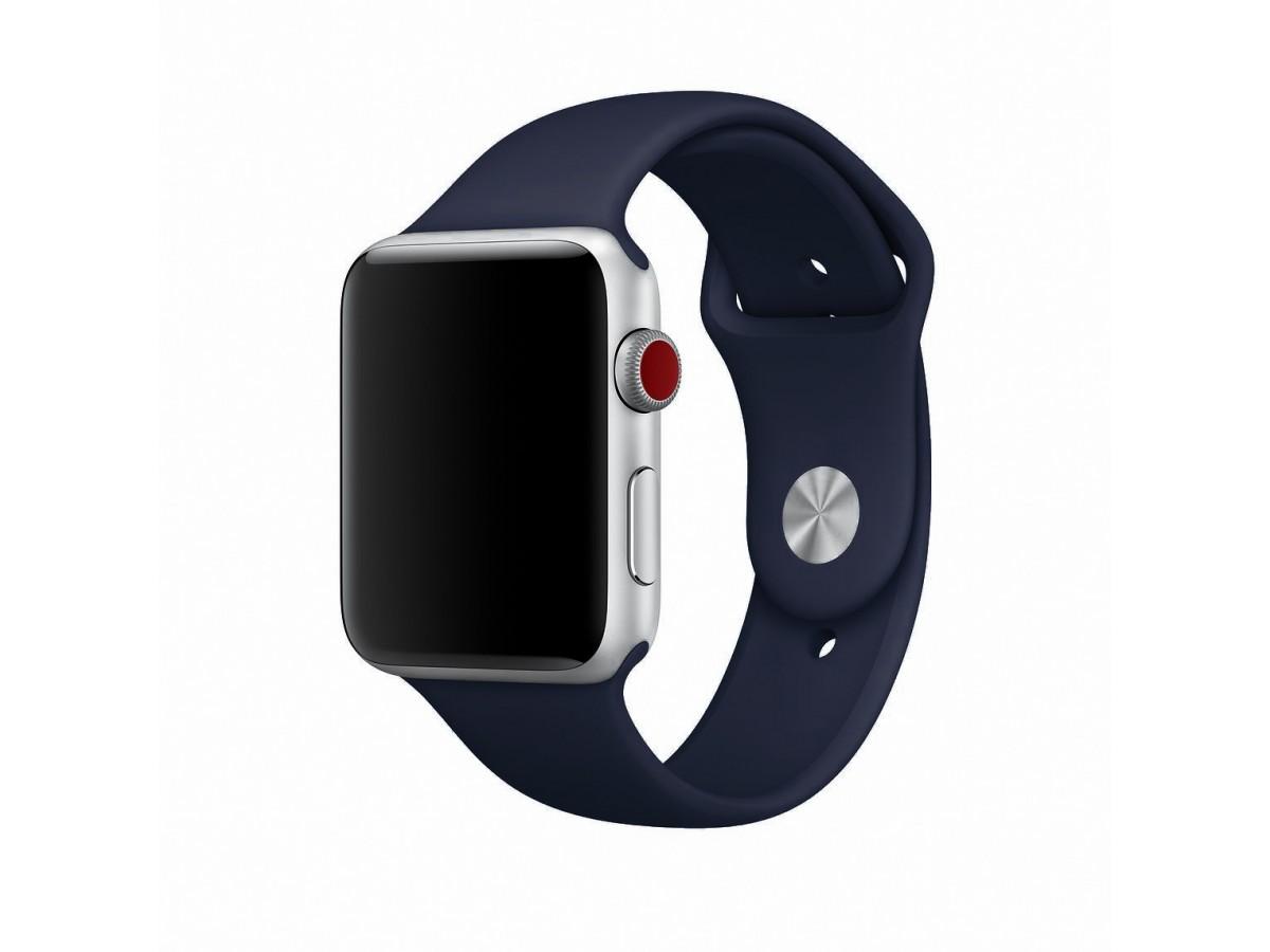 Силиконовый ремешок Apple Watch 42/44мм темно-синий  в Тюмени