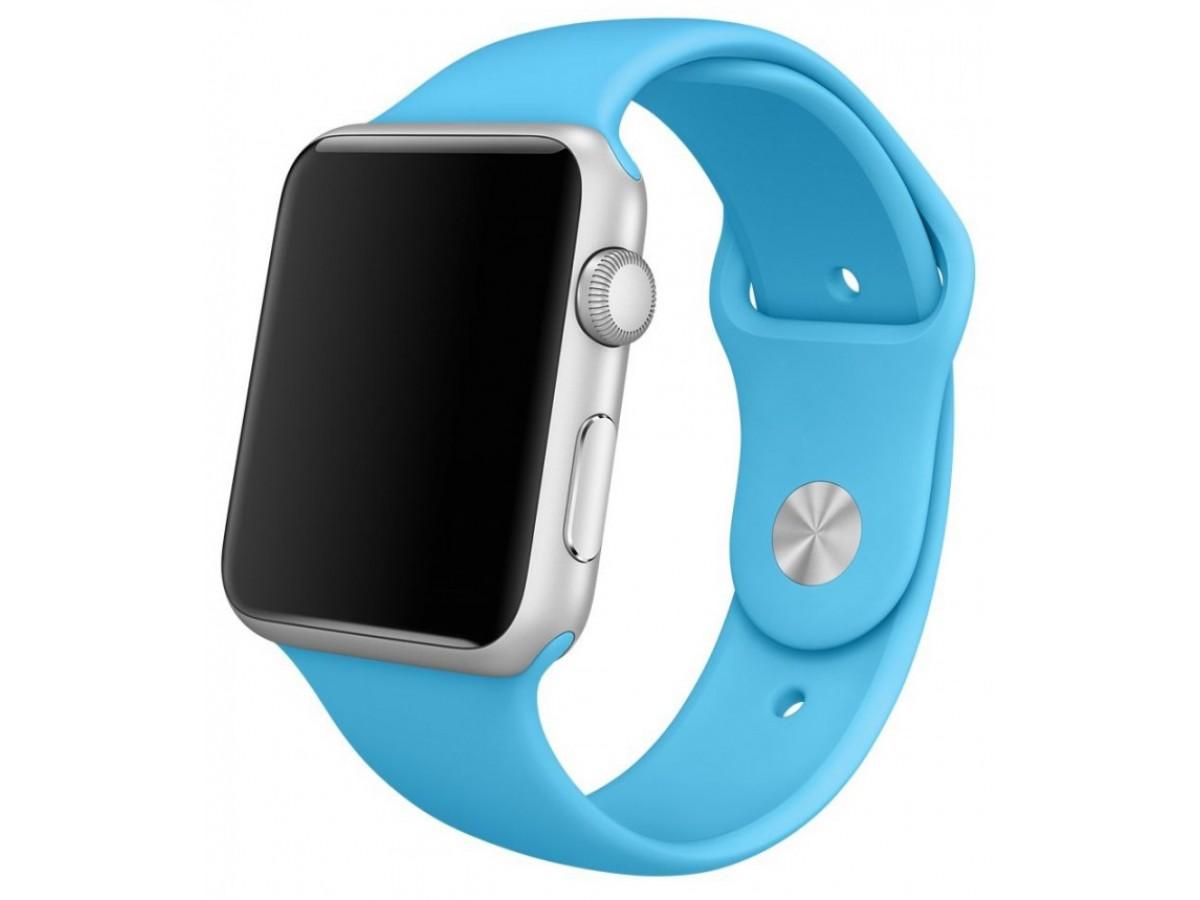 Силиконовый ремешок Apple Watch 38/40 мм голубой в Тюмени