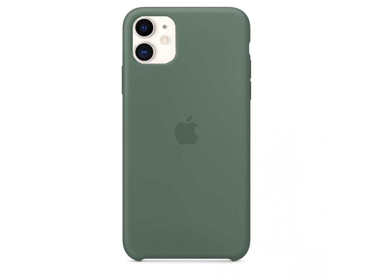 Чехол Silicone Case iPhone 11 темно-зеленый в Тюмени