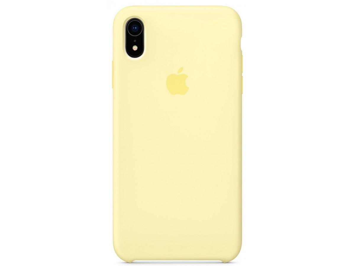 Чехол Silicone Case качество Lux для iPhone XR лимонный крем в Тюмени