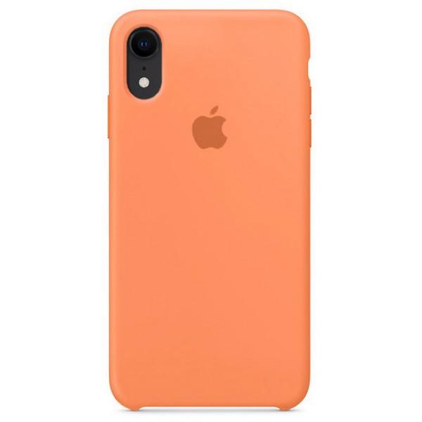 Чехол silicone case качество Lux для iPhone XR папайя