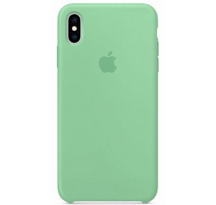 Чехол Silicone Case качество Lux для iPhone X/Xs мятный