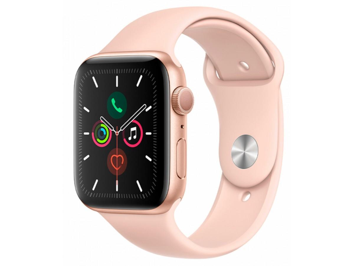 Apple Watch Series 5, 44 мм, корпус из алюминия золотого цвета, спортивный ремешок цвета (розовый песок) в Тюмени