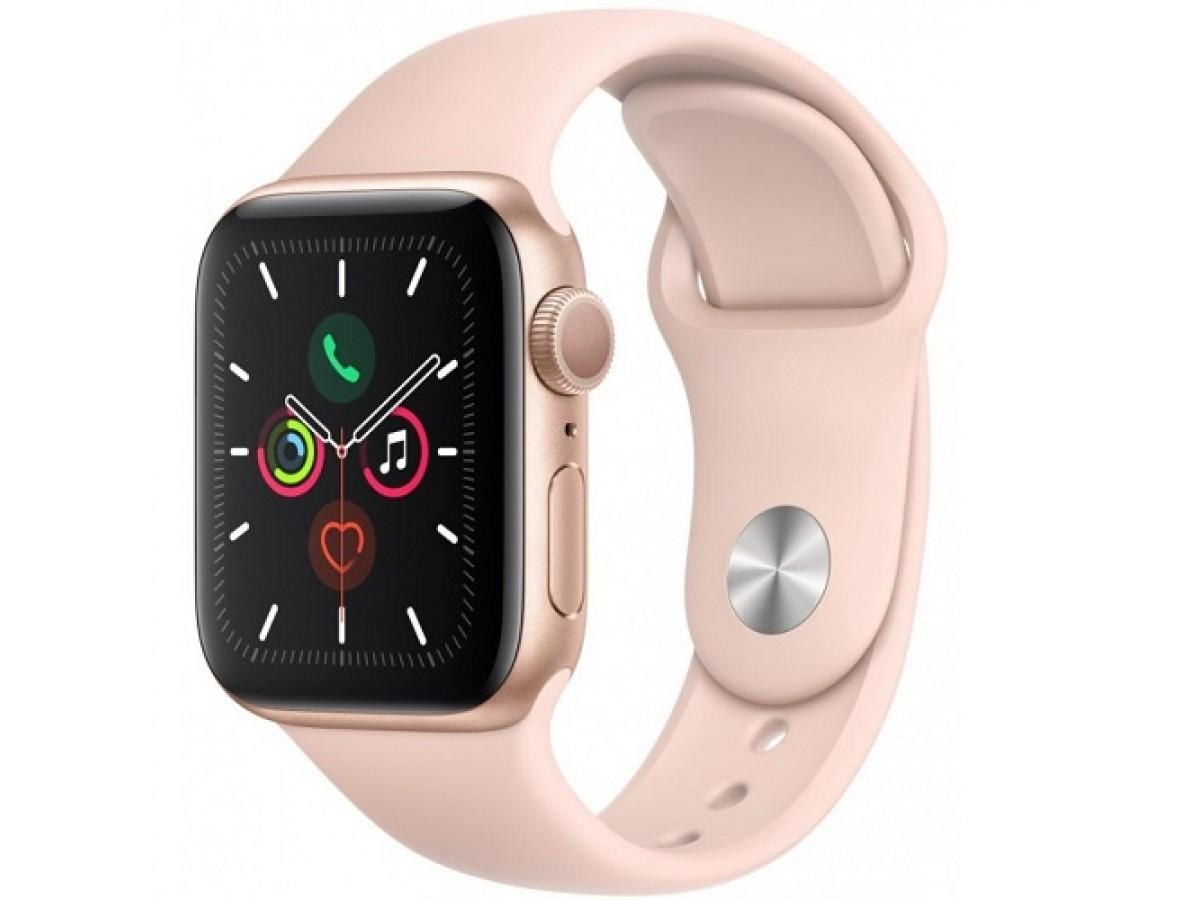 Apple Watch Series 5, 40 мм, корпус из алюминия золотого цвета, спортивный ремешок цвета (розовый песок) в Тюмени