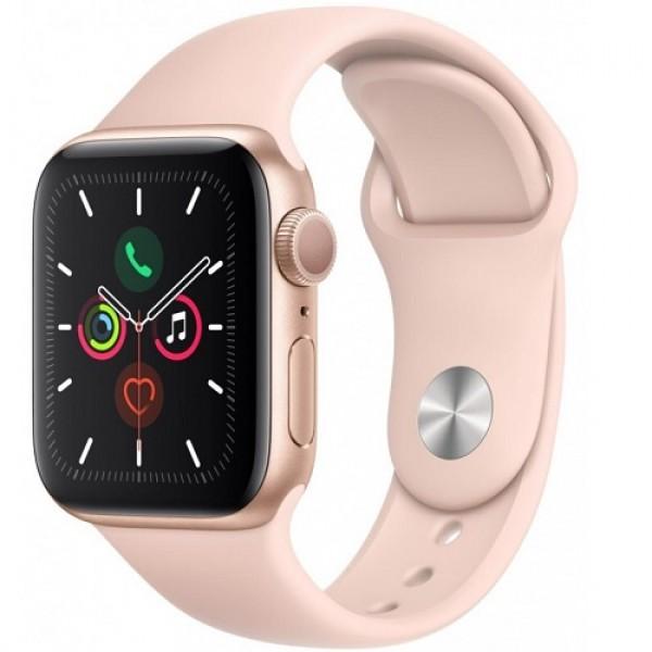 Apple Watch Series 5, 44 мм, корпус из алюминия золотого цвета, спортивный ремешок цвета (розовый песок)