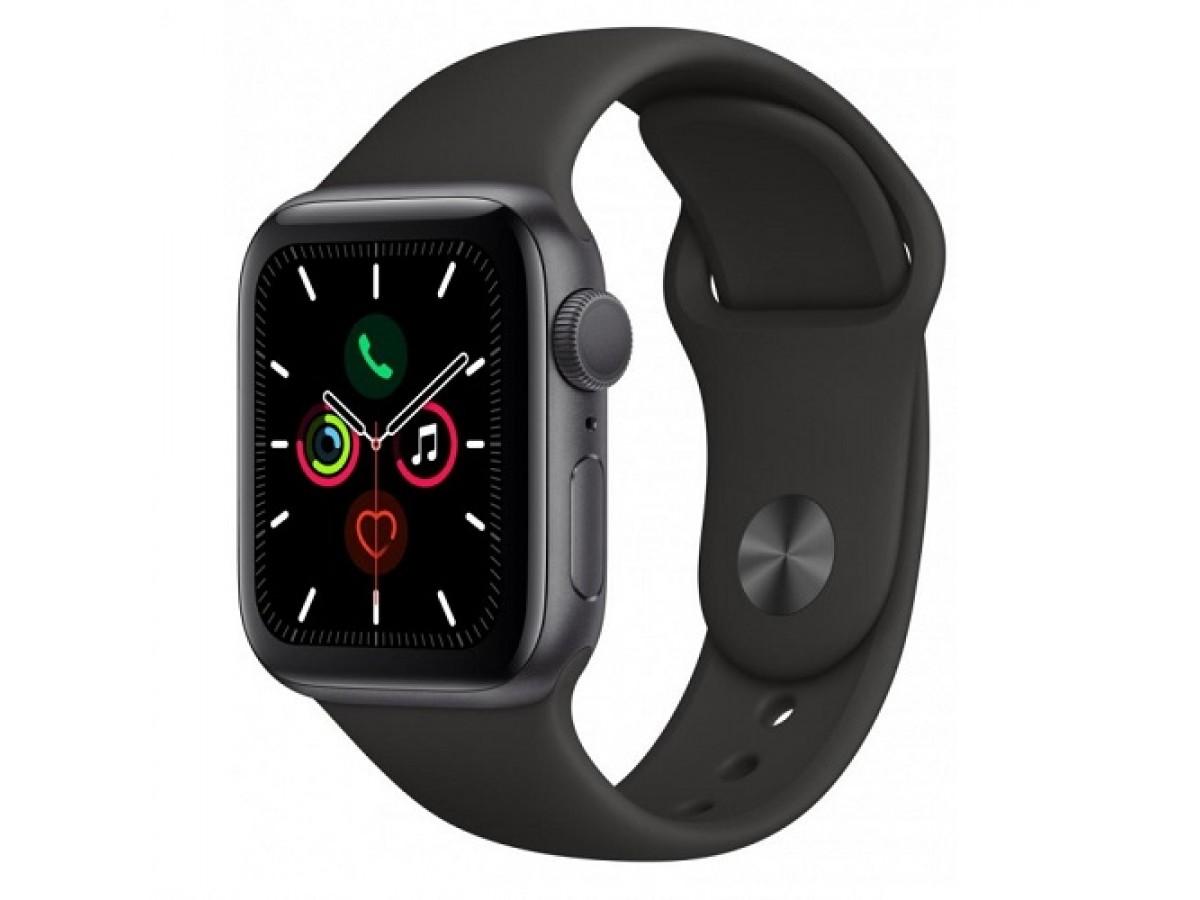 Apple Watch Series 5, 40 мм, корпус из алюминия цвета (серый космос), спортивный ремешок чёрного цвета в Тюмени