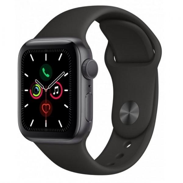 Apple Watch Series 5, 40 мм, корпус из алюминия цвета (серый космос), спортивный ремешок чёрного цвета