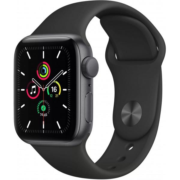 Apple Watch SE, 40 мм, корпус из алюминия цвета (серый космос), спортивный ремешок чёрного цвета