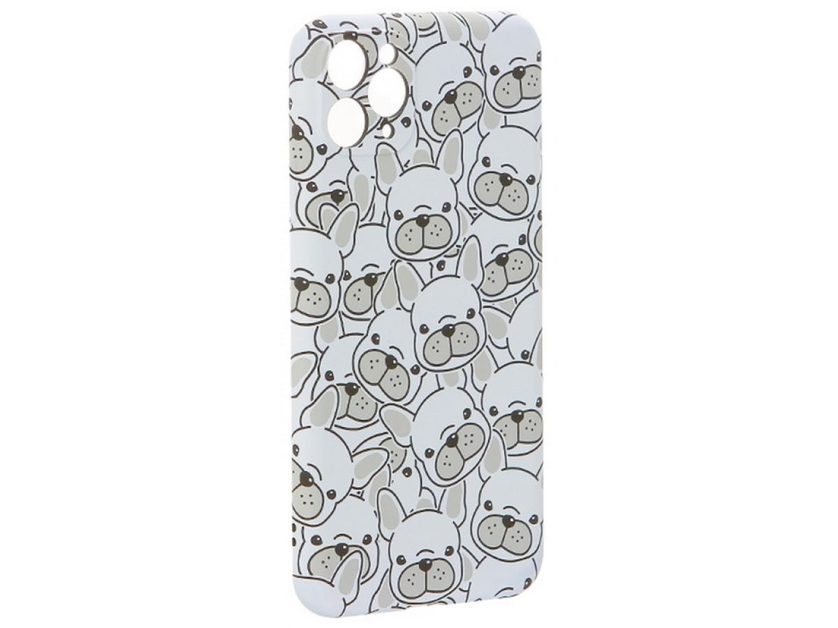 Чехол Luxo бульдоги для iPhone 11 Pro Max с принтом силиконовый белый в Тюмени