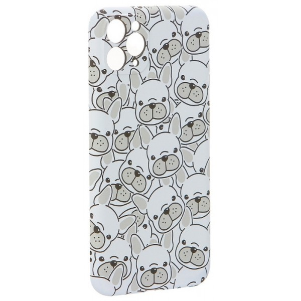 Чехол Luxo бульдоги для iPhone 11 Pro Max с принтом силиконовый белый
