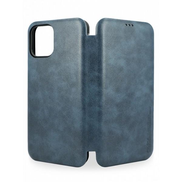 Чехол-книжка Puloka для iPhone 12/12 Pro на магните темно-синяя