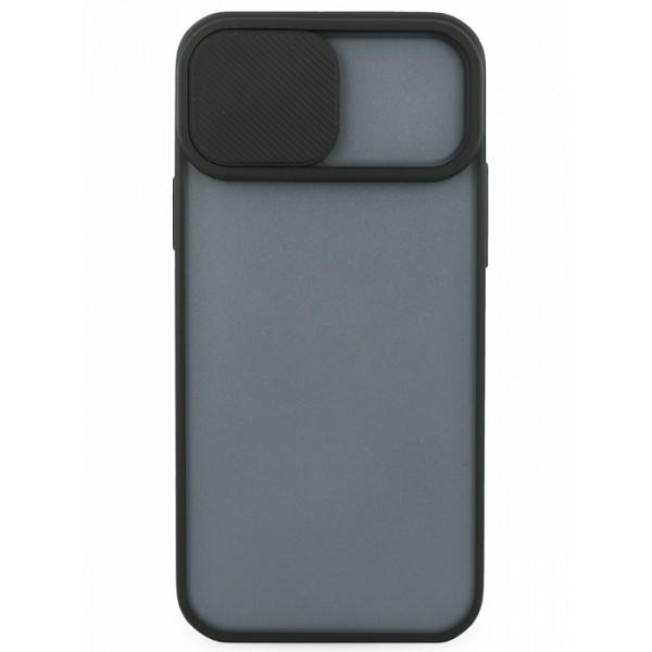 Чехол с защитой камеры для iPhone 12 с бампером черный