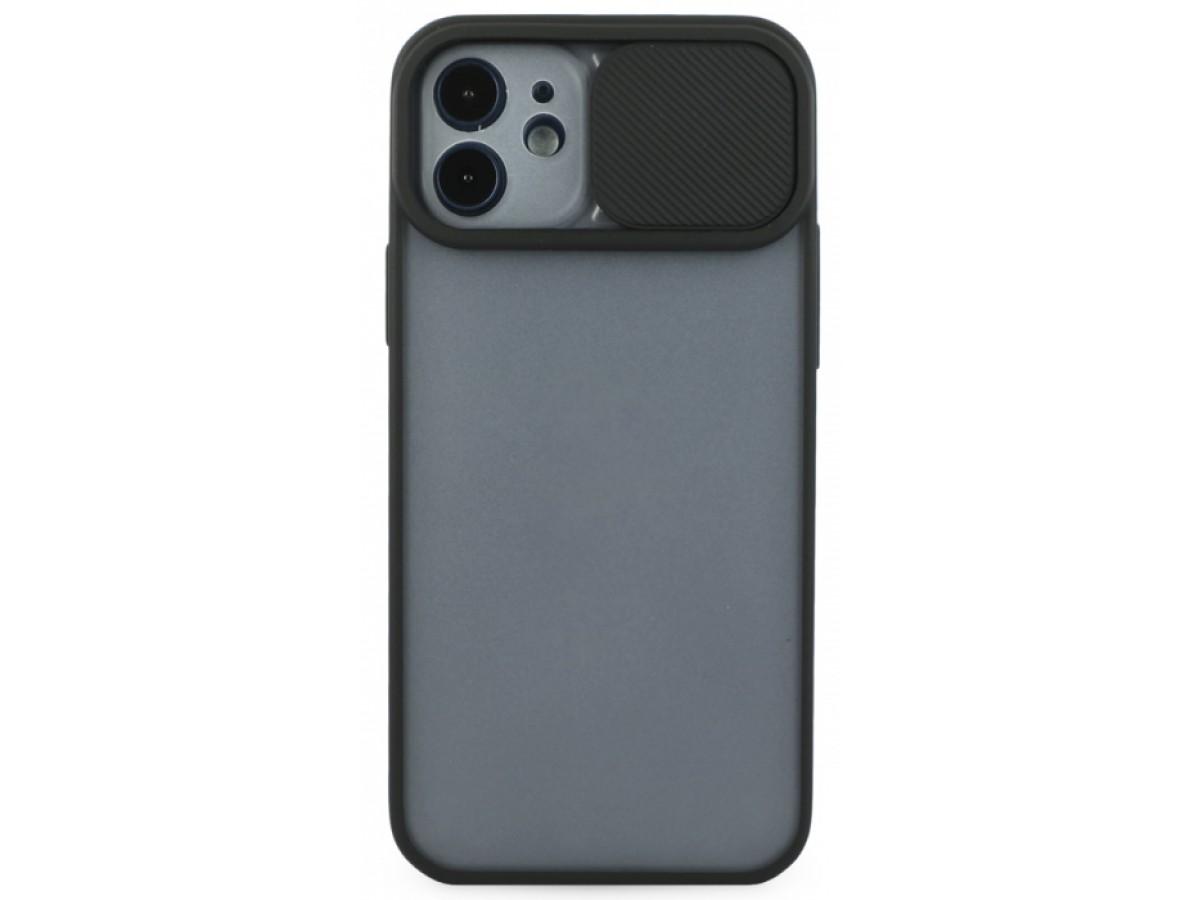 Чехол с защитой камеры для iPhone 12 с бампером черный в Тюмени