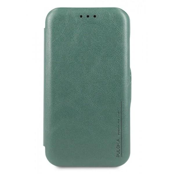 Чехол-книжка Puloka для iPhone 11 на магните зеленая