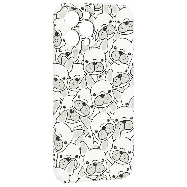 Чехол Luxo бульдоги для iPhone 12 Pro Max с принтом силиконовый белый