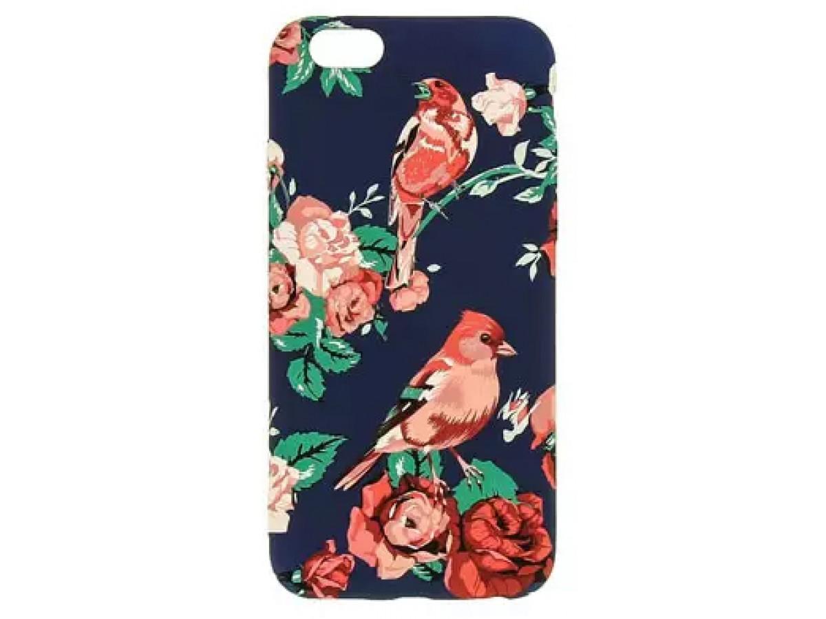 Чехол Luxo цветы и птицы для iPhone 6/6S с принтом силиконовый F6 в Тюмени