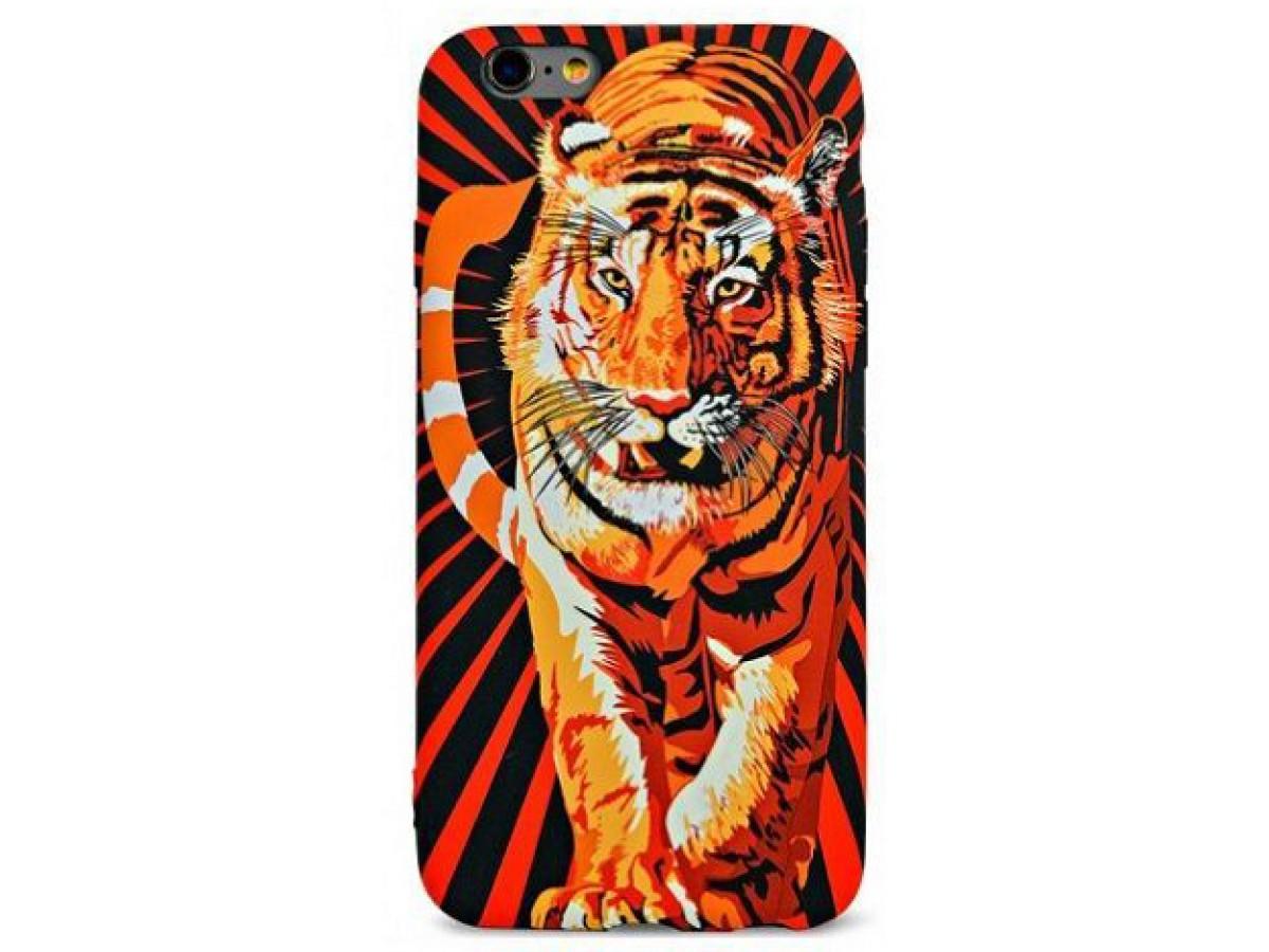 Чехол Luxo тигр для iPhone 6/6S с принтом силиконовый D6 в Тюмени