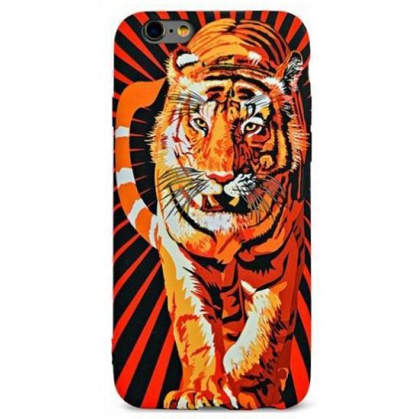 Чехол Luxo тигр для iPhone 6/6S с принтом силиконовый D6