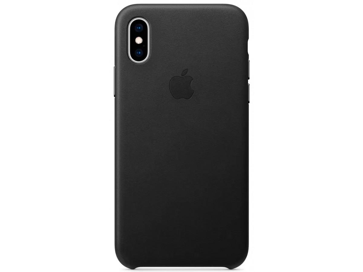 Чехол Leather Case для iPhone X/Xs черный в Тюмени