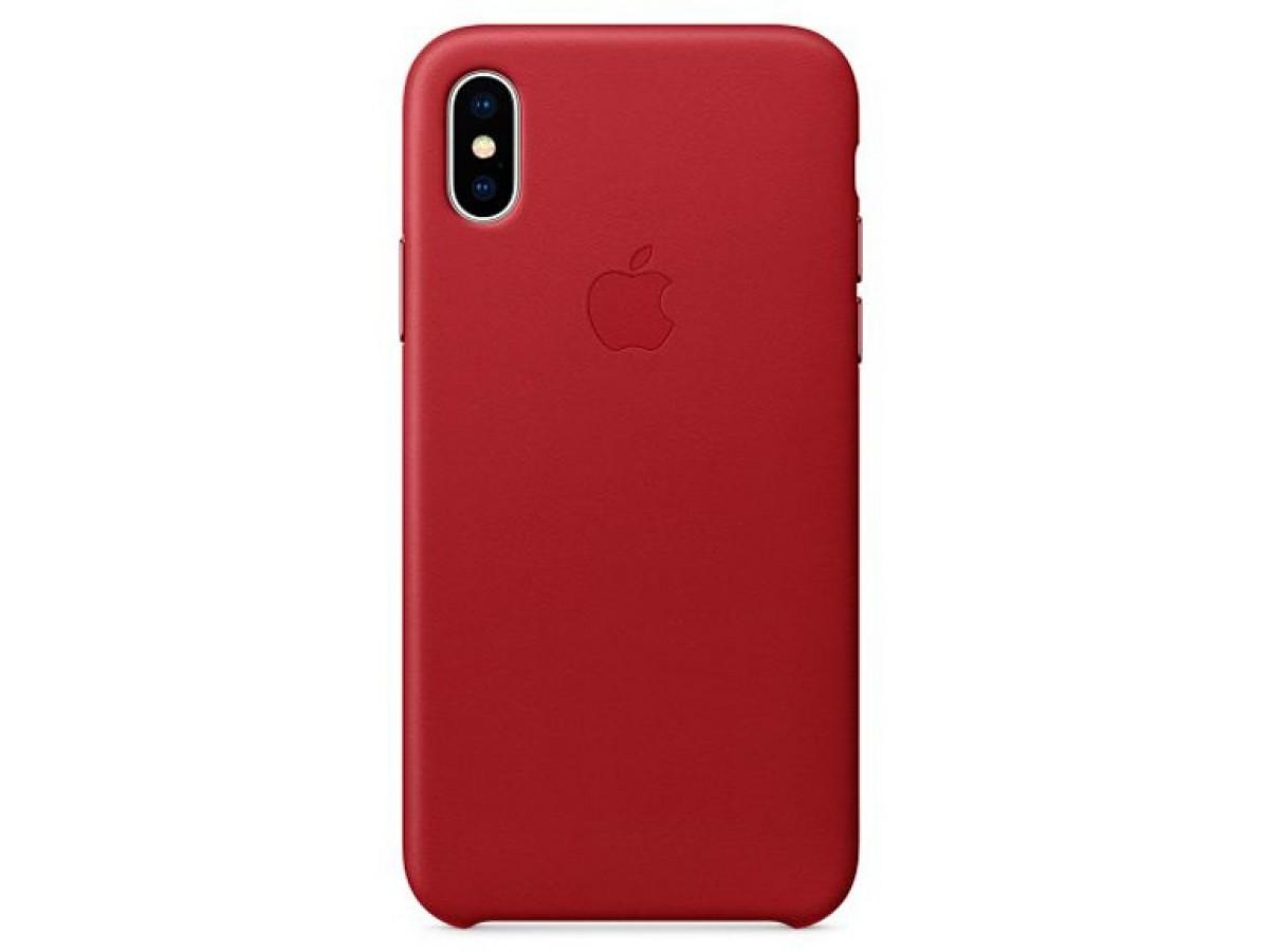 Накладка iPhone X/Xs натуральная кожа красная в Тюмени