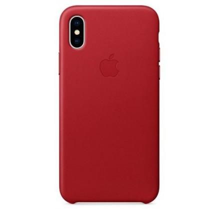 Накладка iPhone X/Xs натуральная кожа красная