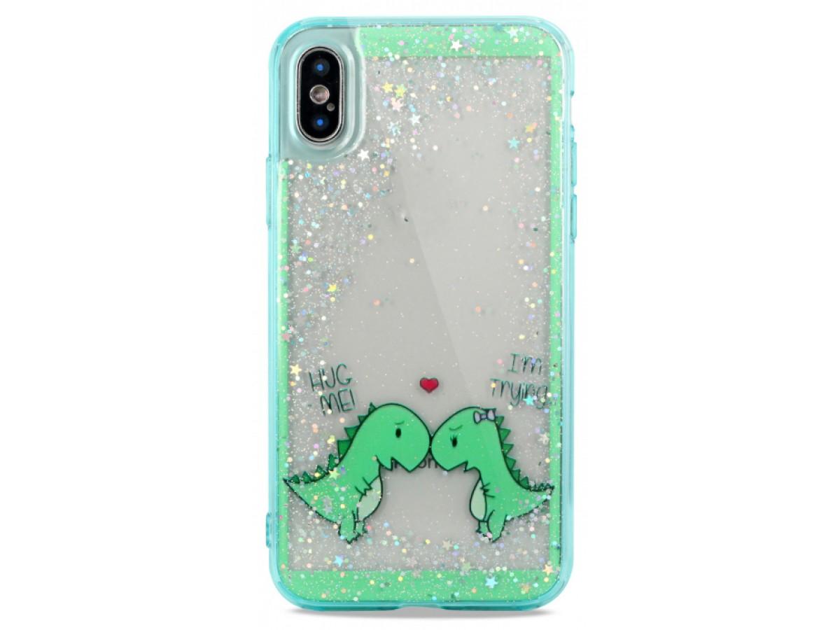 Накладка iPhone X/Xs силикон Love Dino в Тюмени