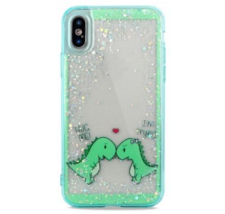 Накладка iPhone X/Xs силикон Love Dino