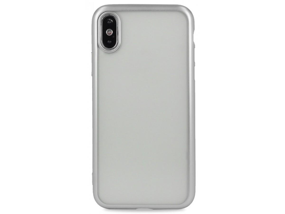Чехол хром для iPhone Xs Max силиконовый серебристый в Тюмени
