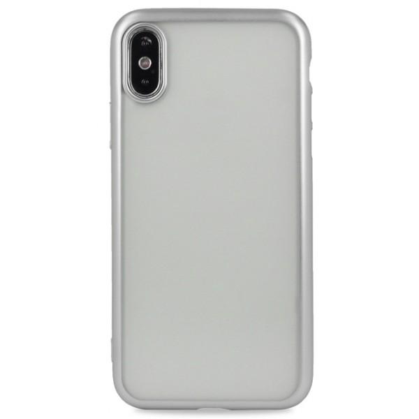 Чехол хром для iPhone Xs Max силиконовый серебристый