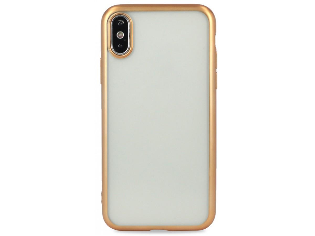 Чехол хром для iPhone Xs Max силиконовый золотой в Тюмени