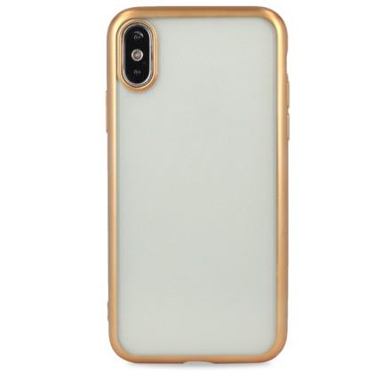 Чехол хром для iPhone Xs Max силиконовый золотой